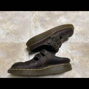 Dr. martens: chocolate brown leather mule